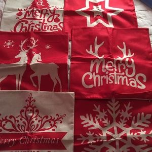 Six red Christmas pillow covers/ NOWT